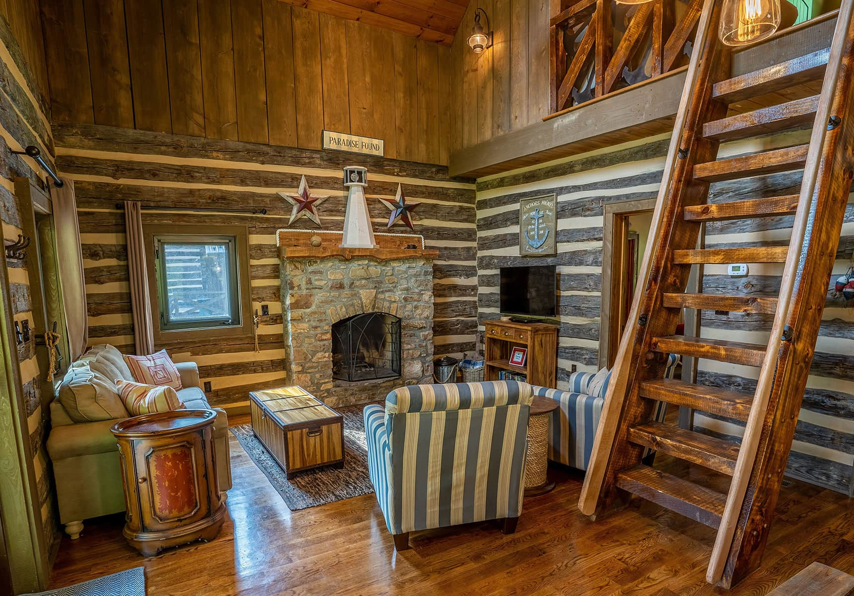 Boathouse seating area with fireplace in WV