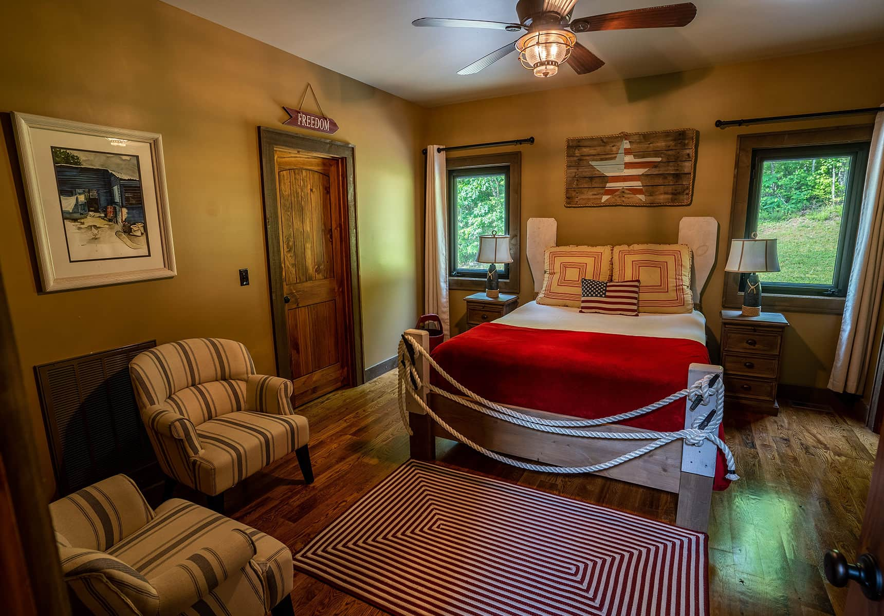 Boathouse bedroom at a West Virginia Lodge