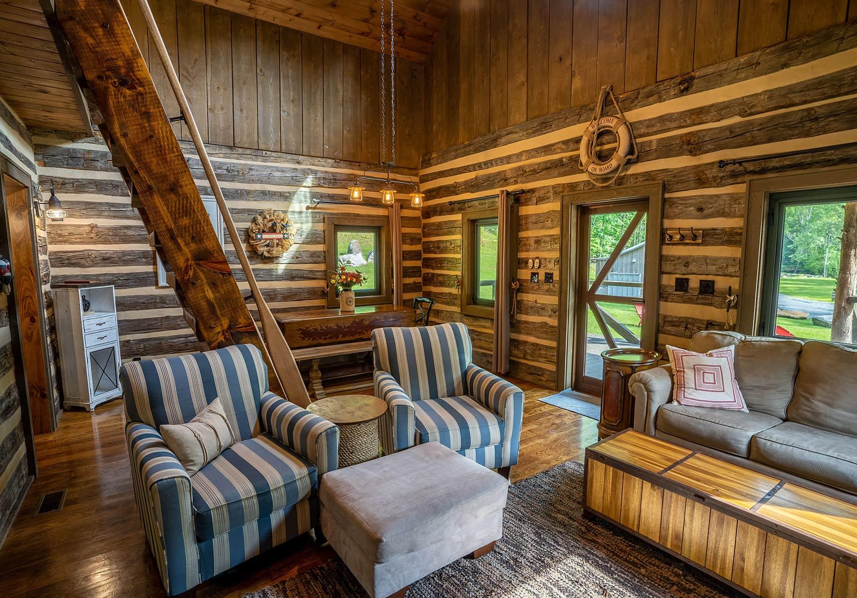 Boathouse seating area West Virginia Cabin