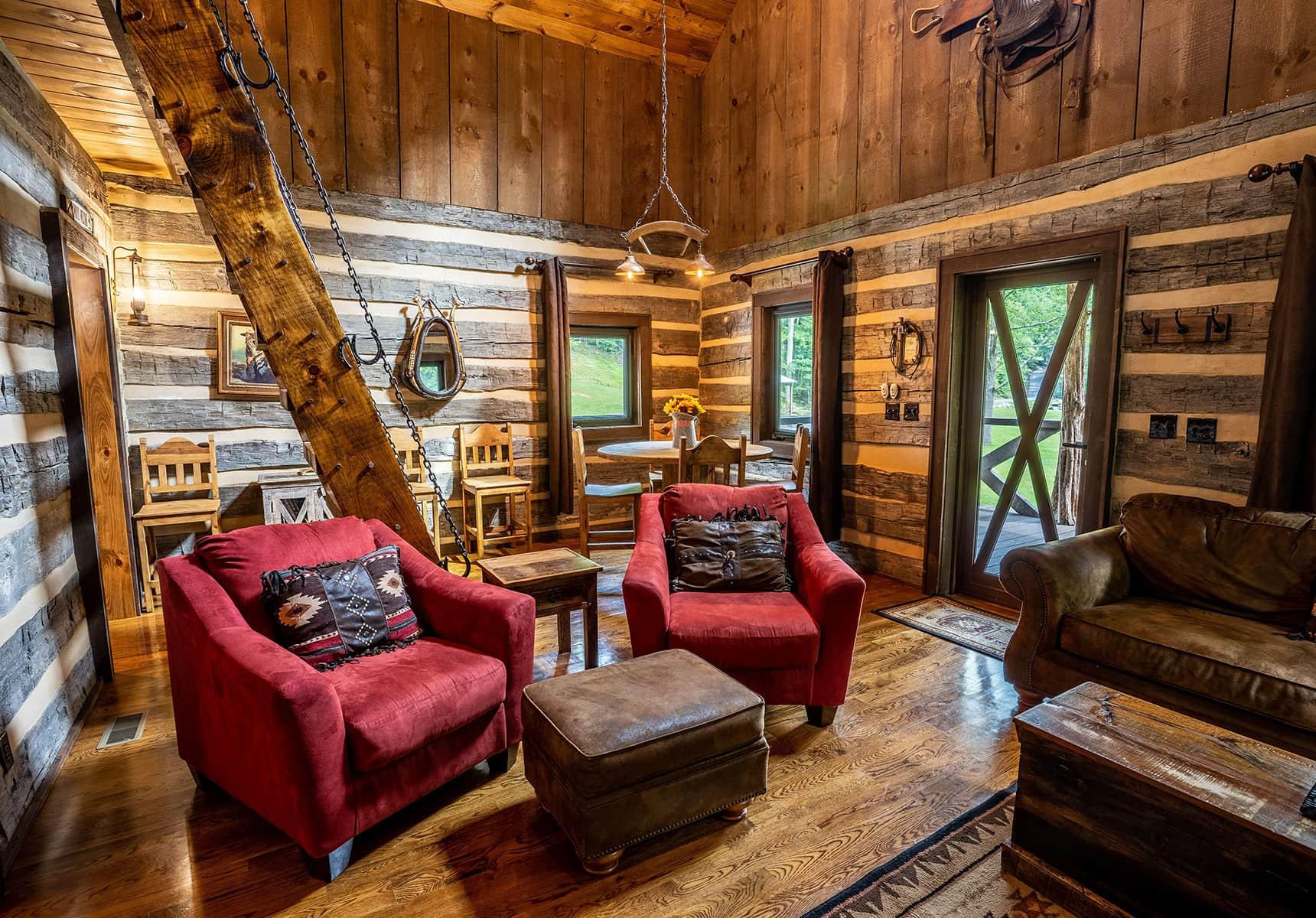 Interior in a cabin rental in West Virginia