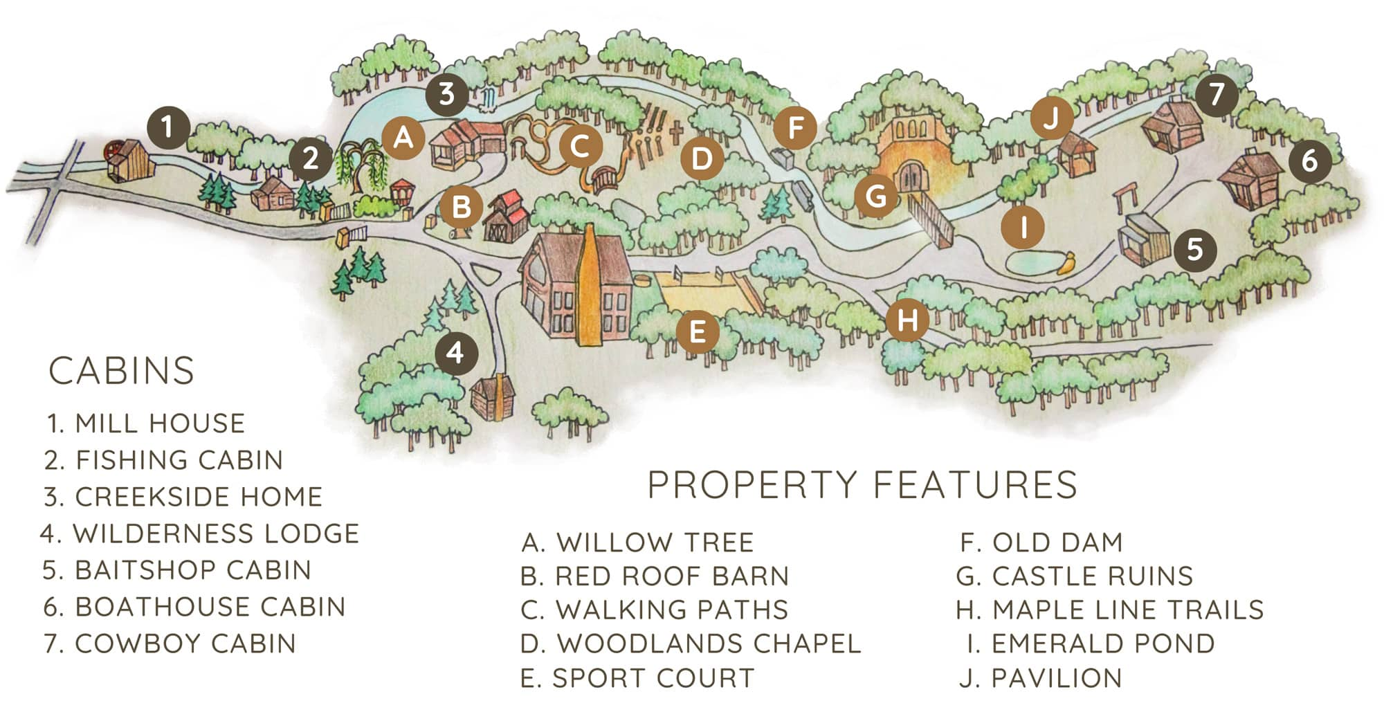 Four Fillies Lodge Property Map - Cabins in West Virginia