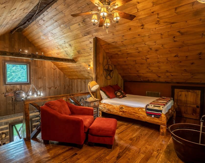 Upstairs sleeping loft in the Cowboy Cabin