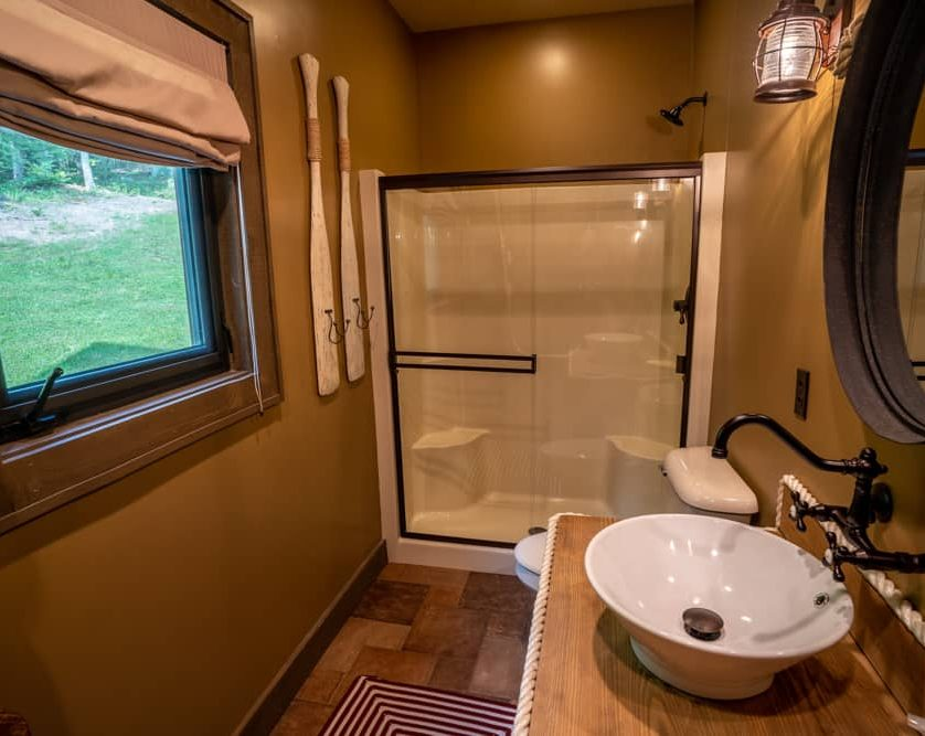 Bathroom with Walk-in shower and sink
